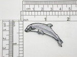 "Dolphin facing Left Embroidered Iron On Patch Applique Fully Embroidered Measures 1 1/4"" across x 1 3/4"" high approximately"