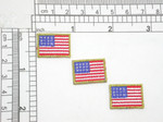 "3 x USA Flag Embroidered Iron On Applique 7/8"" x 5/8"" Fully Embroidered with Metallic Gold Outline Measures 7/8"" across x 5/8"" high"