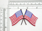 """Large USA Flags Crossed Iron On Patch Applique  Fully Embroidered Measures 3"""" across x 1 3/4"""" high"""