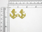 "2 x Anchor Metallic Gold Nautical Applique Iron On Embroidered Patch   Fully Embroidered in Metallic Gold Thread  Measures 1 1/8"" high x 1 3/16"" wide"