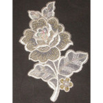 Iron On Patch Applique - Rose Spray Beaded