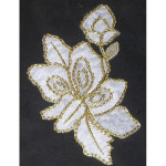 """Floral Spray in White & Gold Iron On Patch Applique  Embroidered on sheer backing in White Rayon and Metallic Gold threads Measures 4"""" across x 5 7/8"""" high"""
