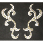 Iron On Patch Applique - Swirl Pair Left & Right Off White