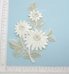 Off White Large Beaded Bridal Applique - Floral Embroidered Iron On Patch
