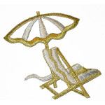 Iron On Patch Applique - Deck Chair & Umbrella