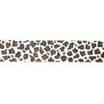"Grosgrain Ribbon 1 1/2"" White Leopard Print 5 Yards"
