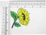 "Sunflower Side Aspect Embroidered Iron On Patch Applique Fully Embroidered Measures 2 3/8"" across x  2 3/4"" high"