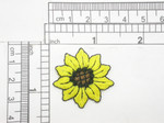 "Sunflower 1 1/4"" Iron On Patch Applique Fully Embroidered Measure 1 1/4"" across x  1 1/4"" high"