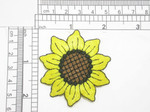 "Sunflower Embroidered Iron On Patch Applique 2 1/8"" Fully Embroidered Measures 2 1/8"" across x  2 1/8"" high"