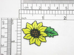 Sunflower with Leaf Embroidered Iron On Patch Applique