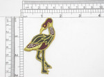 """Flamingo Exotic Gem Eye Bird  Iron On Patch Applique  Fully Embroidered in Rayon and Metallic Gold Threads A small faux gem depicts the eye Measures 1 3/4"""" across x 2 7/8"""" high approximately"""