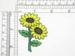 "Sunflower Duo Spray Embroidered Iron On Patch Applique  Fully Embroidered Measures 1 5/8"" across x  2 1/8"" high"