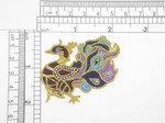 """Aves Exotic Gem Eye Bird Iron On Patch Applique Fully Embroidered in Rayon and Metallic Gold Threads A small faux gem depicts the eye Measures 2 1/8"""" across x 2"""" high approximately"""