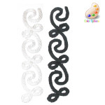 "Black Rope Effect Swirl Strip 5"" x 1"" - Iron On Patch Applique"