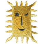 Iron On Patch Applique - Rectangular Sun Metallic Gold