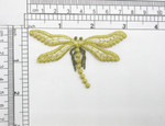 "Dragonfly White & Gold Embroidered Iron On Patch Applique 3"" x 1 7/8"" Fully Embroidered in Brilliant White & Metallic Gold Thread Measures 3"" across x 1 7/8"" high"