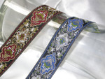 "Jacquard Ribbon 1 3/8"" (35MM) Metallic Renaissance Style *Colors*"