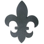 """Fleur De Lys Black Twill with Embroidered Border Iron On Patch Applique 5 7/8"""" tall"""