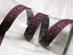 "Jacquard Ribbon 1"" Magenta Blue & Met Gold"