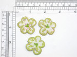 "Brocade Flower with Bead Iron On Embroidered Applique Brocade Fabric with Green & Tan Embroidery and central Green Glass Seed Bead Accents Measures 1 7/16"" across"