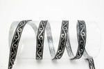 "Jacquard Ribbon 11/16"" Black & Metallic Silver Scroll 6 Yards"