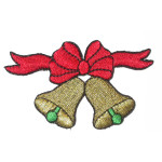 "Christmas Bells  Iron On Patch Applique 3 1/8"" across x 1 7/8"" high"