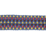 "Braid 1 7/16"" Fancy Woven Blue Yellow Peach & Brown Priced Per Yard"