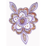 Iron On Patch Applique - Sheer Flower Purple Large with Sequins
