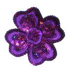 Iron On Patch - Sequin Flower Purple