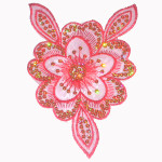 Iron On Patch Applique - Sheer Flower Red Large with Sequins