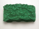 """Floral Stretch Lace 2 7/8"""" (73mm) 5 Yards - Soft with Mylar Forest Green 10 Yards"""