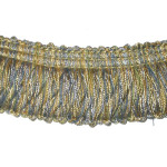 "Looped Fringe 1 3/4"" Conso Imperial Blue Gold Cream - Priced Per Yard"