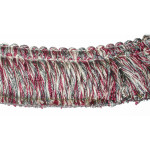 "Brush Fringe 2"" Conso Imperial Rose Pink White Gray - Priced Per Yard"