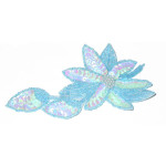 Iron On Sequin Applique - Blue Flower Spray