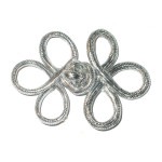 Frog Closure Metallic Silver Looped