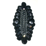 Iron On Beaded Applique - Black & Gray