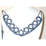 Crochet Yoke Air Force Blue with Silver Bead Detail