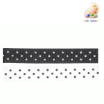 "Black Grosgrain Ribbon 11/16"" White Polka Dot 50 Yard Roll"