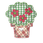 Iron On Patch Applique - Country Flower Pot