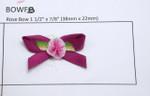 Ribbon Rose on Bow Dark Raspberry 24 Pack