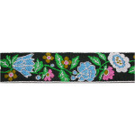 "Jacquard Ribbon 1 1/16"" Black Floral 6 Yards & Up"