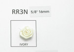 "Ribbon Rose 5/8"" (16mm) No Leaf Ivory 24 Pack"
