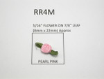 Ribbon Roses Mini with Leaf  25 pack PINK