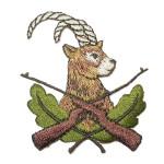 "Antelope Hunt Embroidered Iron on Applique  Fully Embroidered  1 3/4"" across x 2 1/4"" high approximately"