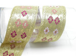 "Jacquard Ribbon 2"" (50mm) Gold Metallic Floral"