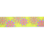 "Grosgrain Ribbon 1 1/2"" Yellow Multi Floral 5 Yards"