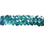 "Sequin Stretch Trim 1 1/8"" Turquoise"