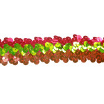 "Sequin Stretch Trim 1 1/4"" Orange Hot Pink & Lime"