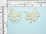 Bridal Beaded Applique Pair Off White