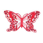 "Iron On Patch Applique - Sequin Butterfly 3 7/8"" Red"